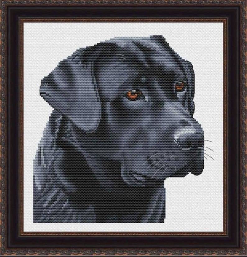 Black Labrador Counted Cross Stitch Pattern image 1