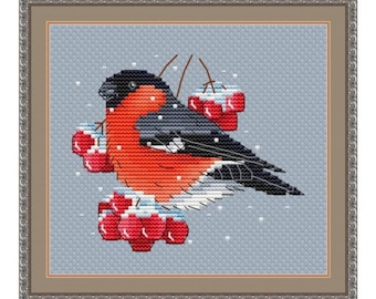 Bullfinch Counted Cross Stitch Pattern   Winter Bird Cross Stitch Chart