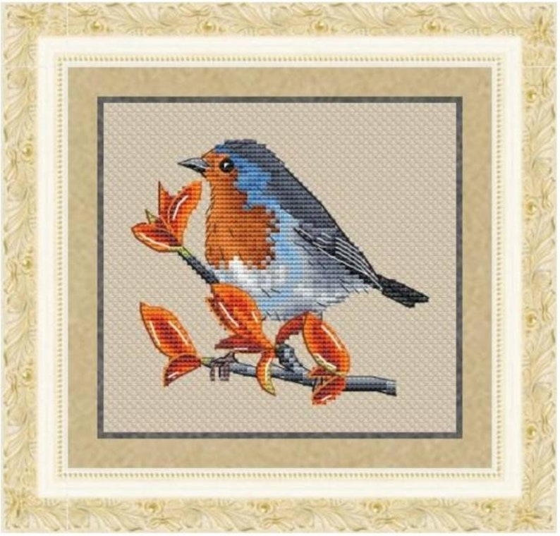 European Robin Counted Cross Stitch Pattern Robin Embroidery image 0