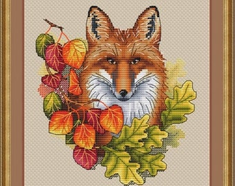 Fox in Autumn Counted Crosss Stitch Pattern, Fox in the Fall Cross Stitch Chart