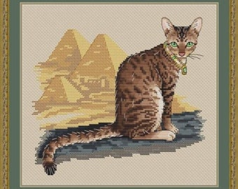 Egyptian Cat Counted Cross Stitch Pattern, Mau Cat Embroidery Chart