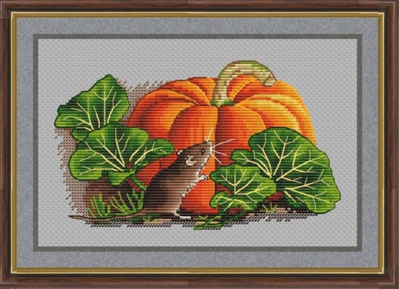 Mouse and Pumpkin Counted Cross Stitch Pattern  Embroidery image 0