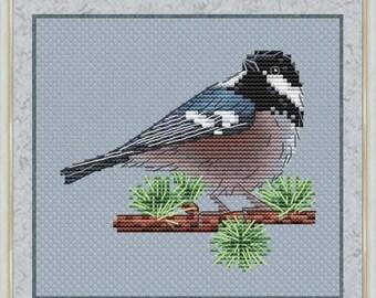 Coal Tit Counted Cross Stitch Pattern, Bird Cross Stitch Chart