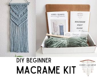 Beginner macrame wall hanging kit. Macrame diy pattern for beginners. Craft kits for adults and kids. Bohemian home decor diy kit
