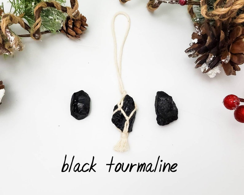 Raw stones. Metaphysical healing stones hangers Ethically sourced crystal charms Boho Christmas ornaments Crystal Christmas ornaments