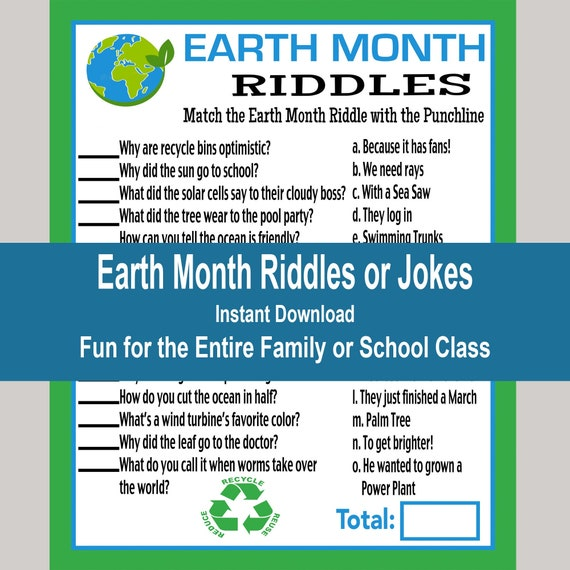 Earth Month Riddles Game Earth Day School Games 2021 Kids