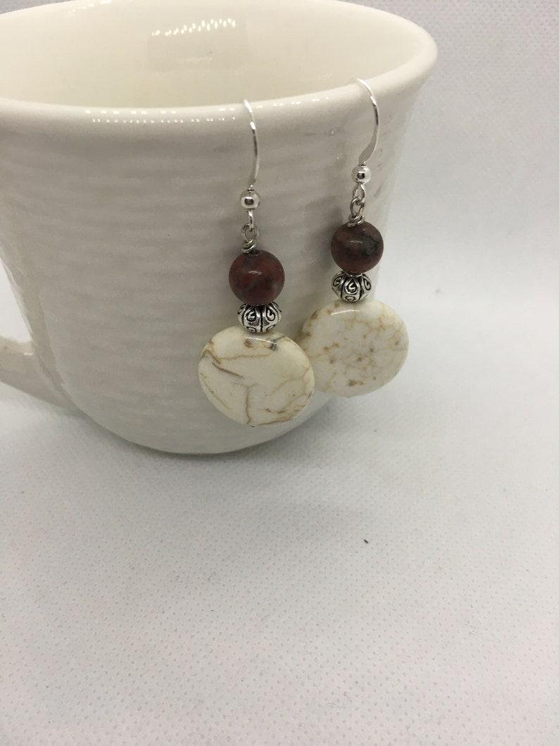 Handmade Beaded Jewelry Presents for Women Howlite Women\u2019s Earrings Handcrafted Jewelry Handmade Earrings