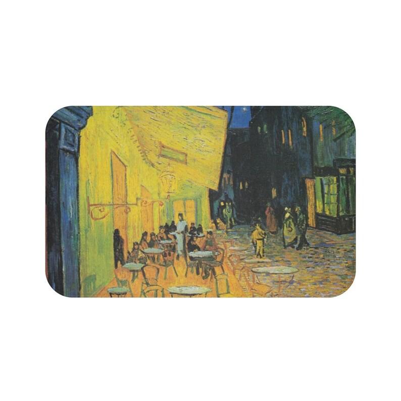 Vincent van Gogh Caf\u00e9 Terrace at Night Bath Mat in 2 sizes