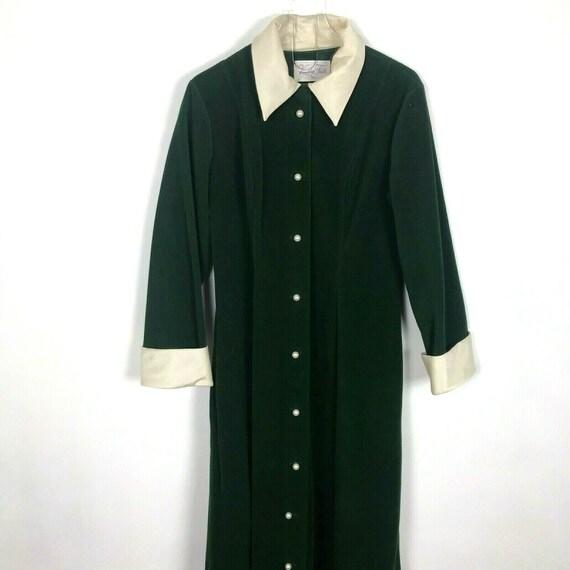 Vintage Vanity Fair Robe Green Velour Satin Collar