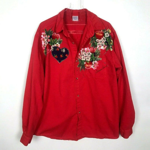 Vintage Tutti Red Shirt Hand Painted Flowers
