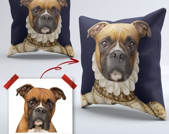 Pet portrait pillow | Etsy