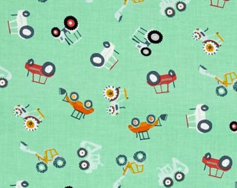 Dear Stella Tossed Tractors on Green Cotton Woven Fabric By the Yard