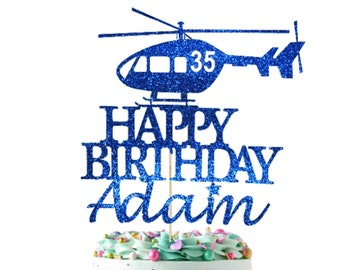 Personalized Copter Aircraft Birthday Age Custom Helicopter Cake Glitter Topper