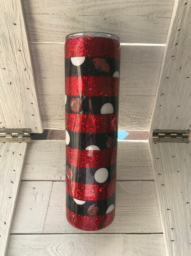 Personalized Tumbler Lady Bug Red Black Striped Glitter Tumbler 30 oz Skinny Stainless Steel Insulated Tumbler Ready To Ship Gift for Mom
