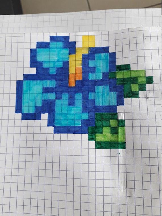 Items Similar To Pixel Flower Art On Etsy