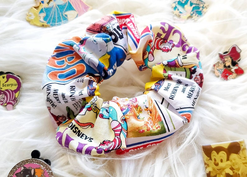 24 Unique Disney Gift Ideas featured by top US Disney blogger, Marcie and the Mouse: Old School Disney Story Book scrunchy old school Disney hair image 0
