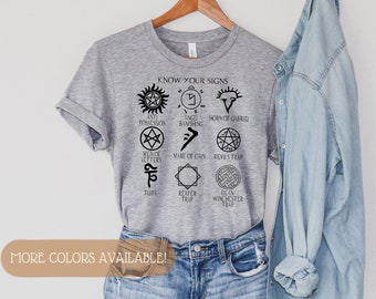 Supernatural Symbols Shirt | Know Your Signs | Supernatural Signs and Sigils | Anti Posession | Supernatural T Shirt | Winchester T Shirt