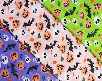 Halloween polycotton fabric, skull fabric, bat fabric, pumpkin fabric