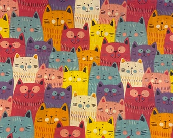 Crazy cat polycotton fabric