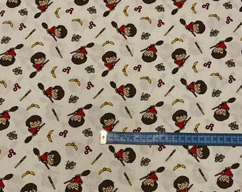 Harry Potter fabric - Harry Potter on broom stick - license fabric