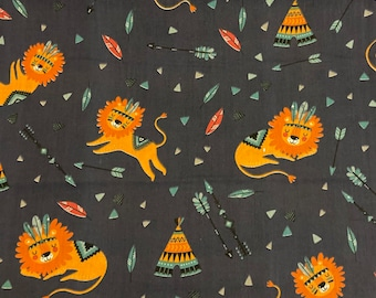 Sleeping lion polycotton fabric