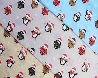 Penguin Christmas Polycotton Fabric