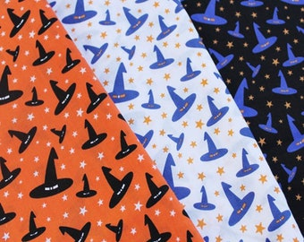 Witches hat polycotton fabric - Halloween fabric - witch fabric