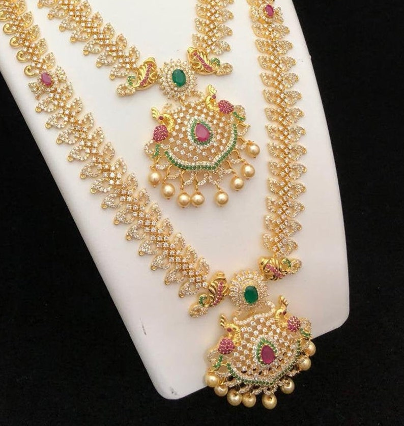 bollywood style 18k gold plated cz ad bridal wedding jewellery jewelry chain matt finish necklace earrings