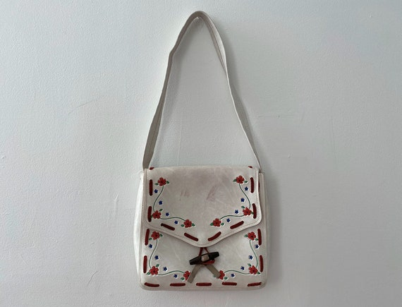 1970s White Tooled Leather Floral Bag
