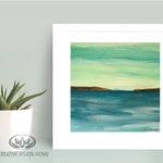 "Lake Watercolor Print/Abstract Lake Art Print/Mountain Lake Print/                        ""Serene Waters"""