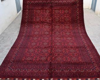 9.8 x 6.9 Ft, Gorgeous Handmade Afghan Turkoman Traditional 100% Wool Stunning Area Rug, Bukhara Rug , Living room area rug, Turkmen carpet