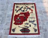 3.11 x 2.8 ft Handmade Rug, War Rug, Oriental Rug, Afghan Rug,Tribal wool handmade wall hanging rug. FREE SHIPPING