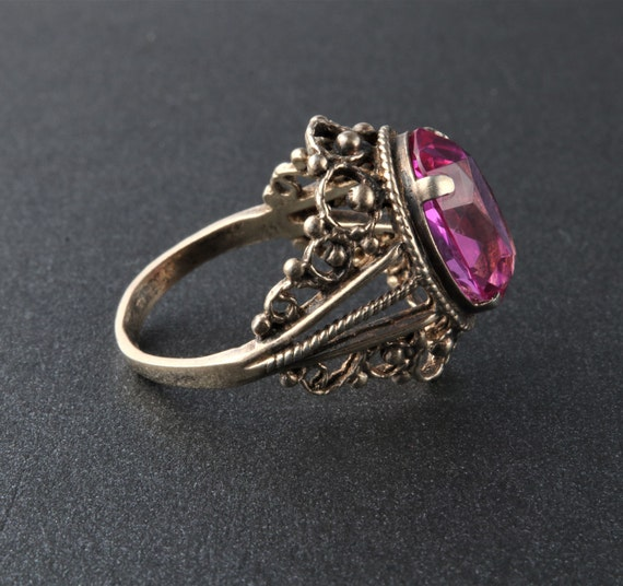 Vintage Soviet Ring, Silver Ruby Ring, 875 Silver… - image 3