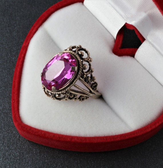 Vintage Soviet Ring, Silver Ruby Ring, 875 Silver… - image 6