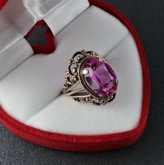 Vintage Soviet Ring, Silver Ruby Ring, 875 Silver… - image 7