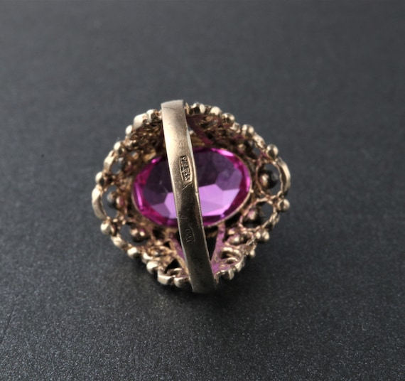 Vintage Soviet Ring, Silver Ruby Ring, 875 Silver… - image 4