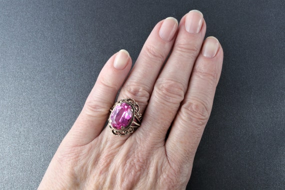 Vintage Soviet Ring, Silver Ruby Ring, 875 Silver… - image 10