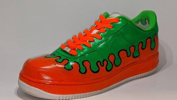 Made To Order Custom Nike Air Force One Nickelodeon Slime Drip Etsy