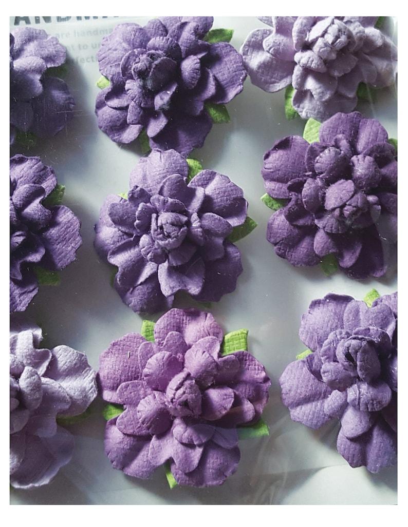 Little Birdie Craft Vincy Mysterious Mauve Lavender Handmade FlowersSet of 9Handmade FlowersLavender FlowersLayered FlowersRoses