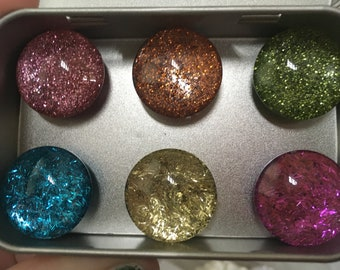 Color glitter magnet set, colorful gift, unique, handmade decor, kitchen decor