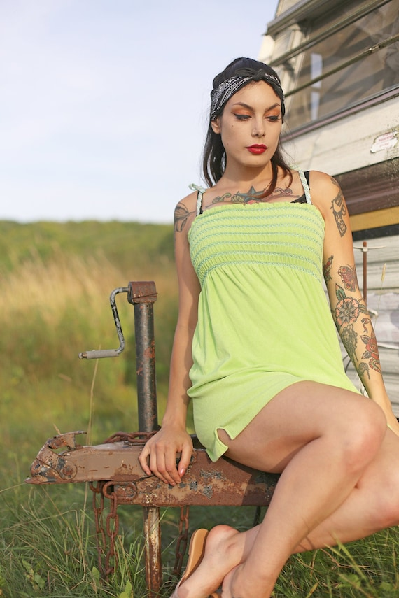 Vintage Terry Cloth Lime 70s Mini Dress
