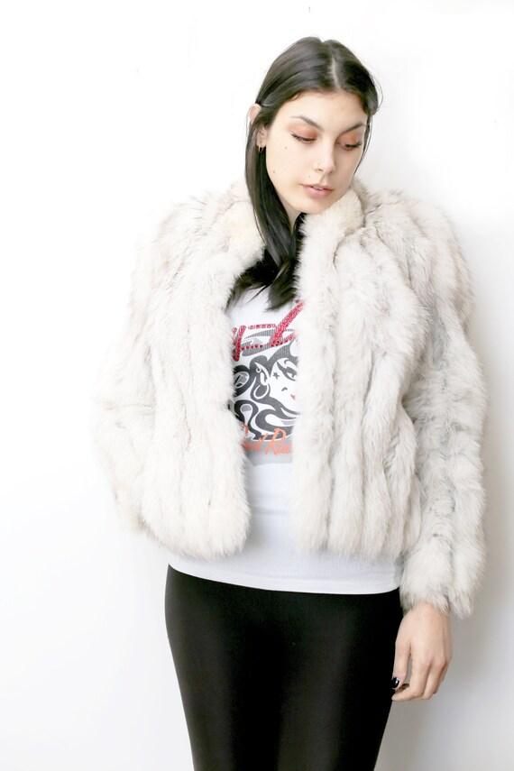 1990s Vintage - White Fox Fur Bomber Jacket