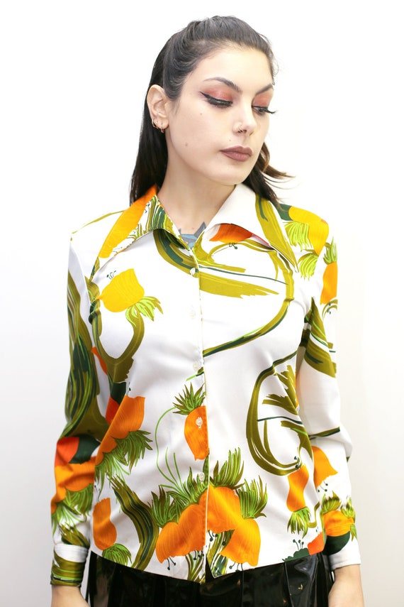 1970's Vintage - Floral Collared Button Up Shirt - image 4
