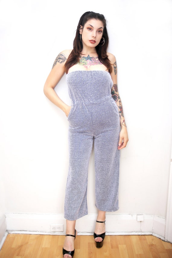 1970s Vintage - Pinstriped Terry Cloth Jumpsuit