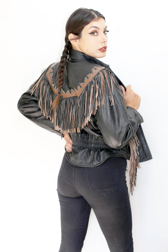Vintage Fringed Pleather Motorcycle Jacket