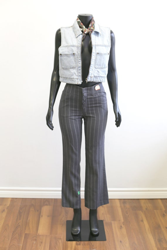 1970s Vintage - High Waisted Pinstriped Flared Tro