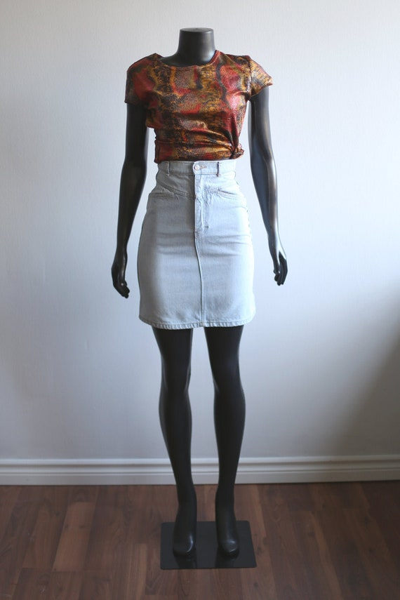 1980s Vintage - Faded Denim Mini Skirt