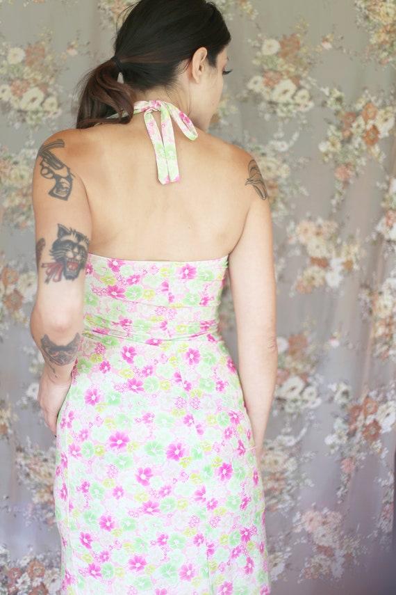 1980s Vintage - Neon Floral Halter Dress - image 4