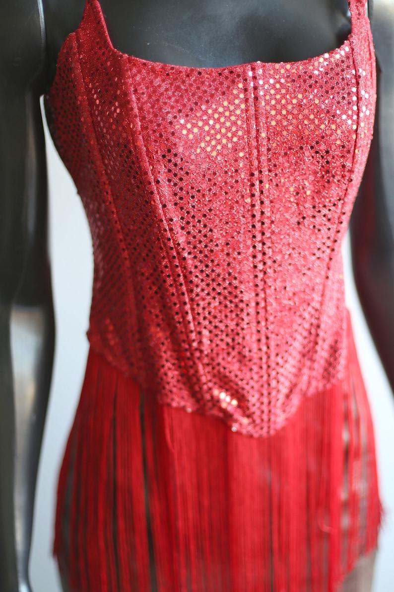 Red Sequinned Fringe Corset 1990s Vintage
