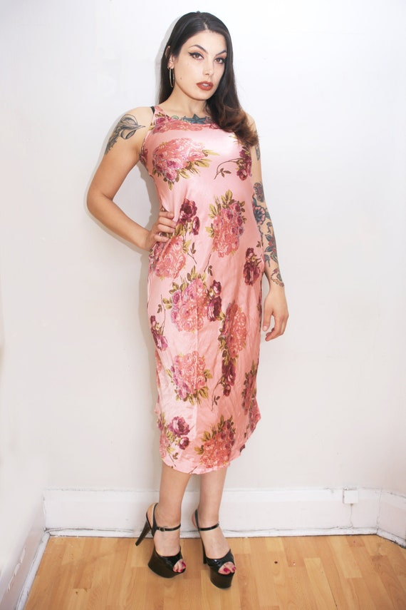 1990s Vintage - Pink Floral Satin Midi Dress
